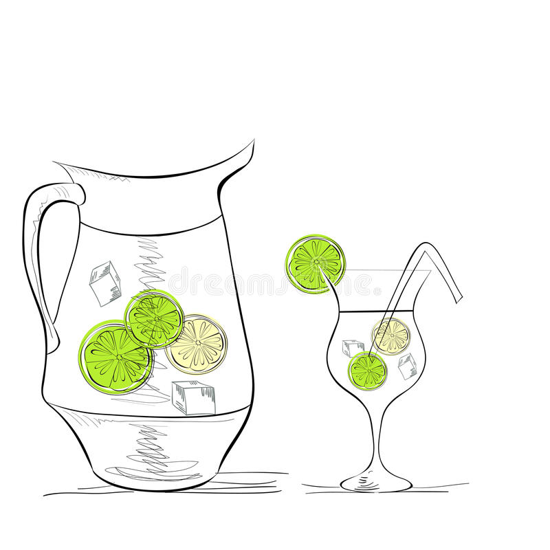 A glass of water with lime stock illustration