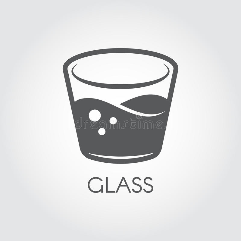 A glass of water or other abstract drink. Black and white icon in flat design. Cookery and bar concept. Vector logo. On a gray background royalty free illustration