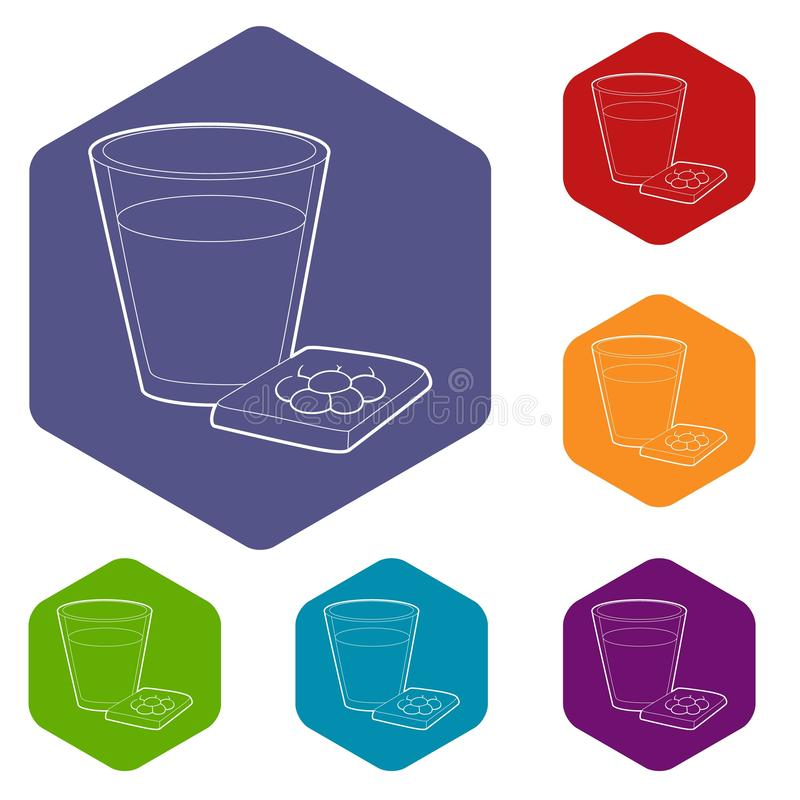 Glass of water and pills icon, outline style. Glass of water and sleeping pills icon. Outline illustration of glass and sleeping pills vector icon for web design royalty free illustration