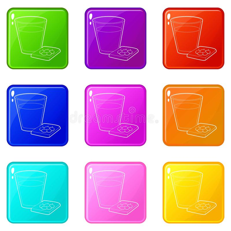Glass of water and pills icons set 9 color collection. Glass of water and sleeping pills icons set 9 color collection isolated on white for any design royalty free illustration