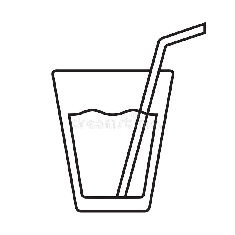 Glass of water vector flat isolated with straw. Isolated royalty free illustration
