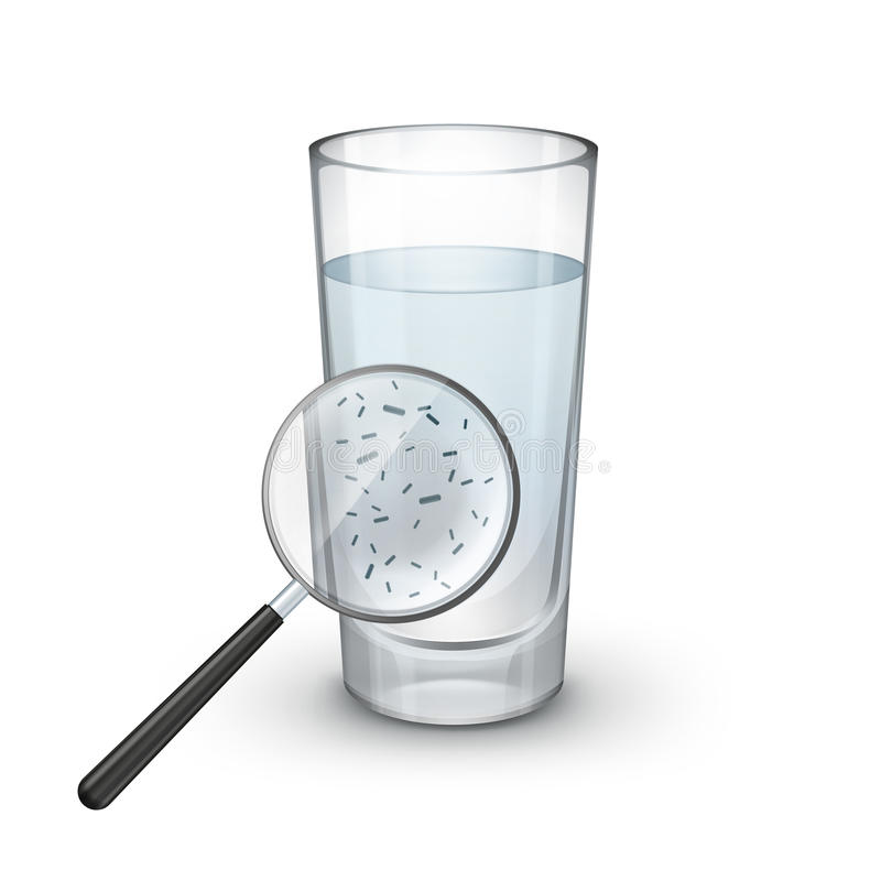 Glass of water. Vector glass of water with magnifier and microscopic bacteria on white background vector illustration
