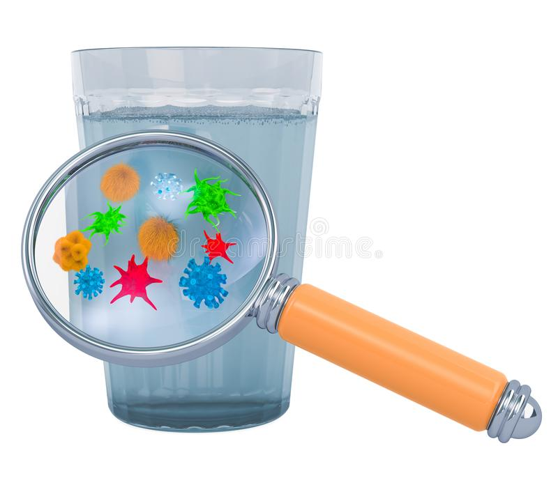 Glass of water with viruses and bacterias under magnifying glass. 3D rendering. Glass of water with viruses and bacterias under magnifying glass. 3D vector illustration
