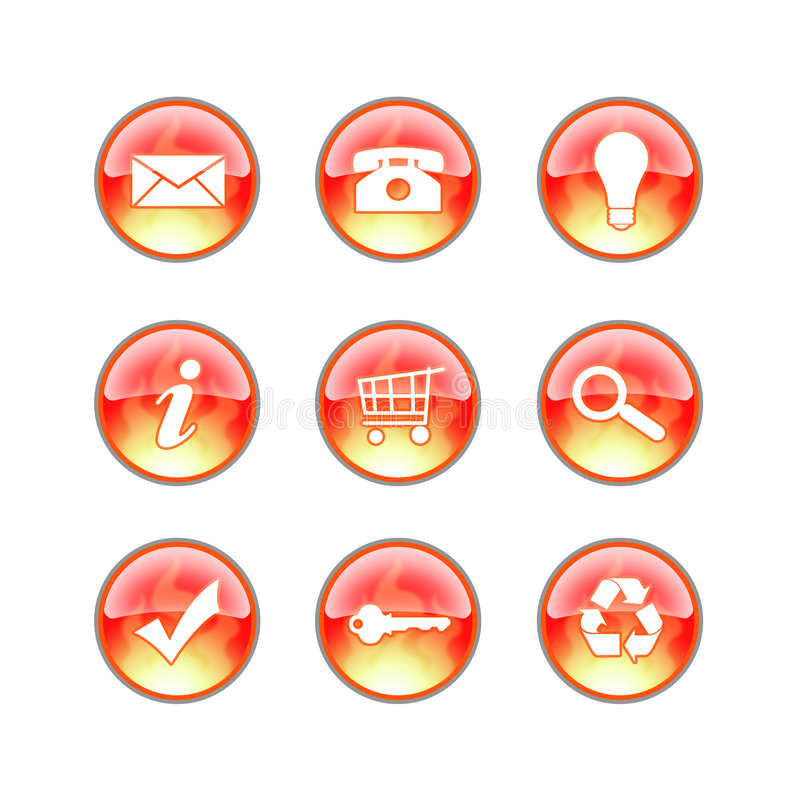 Download Glass website fire icons stock photo. Image of idea, orange - 2133706