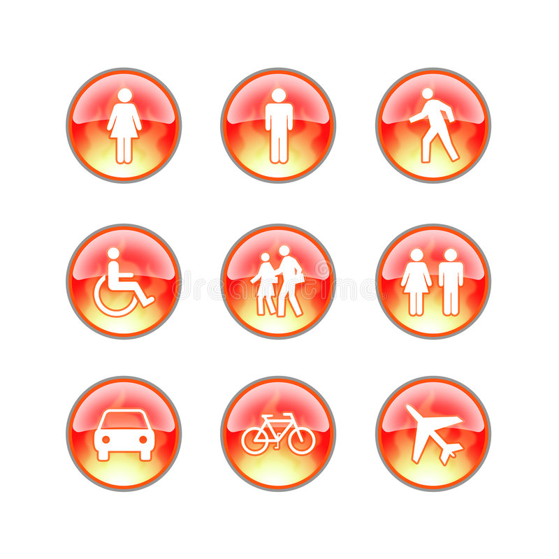 Glass website fire icons stock illustration