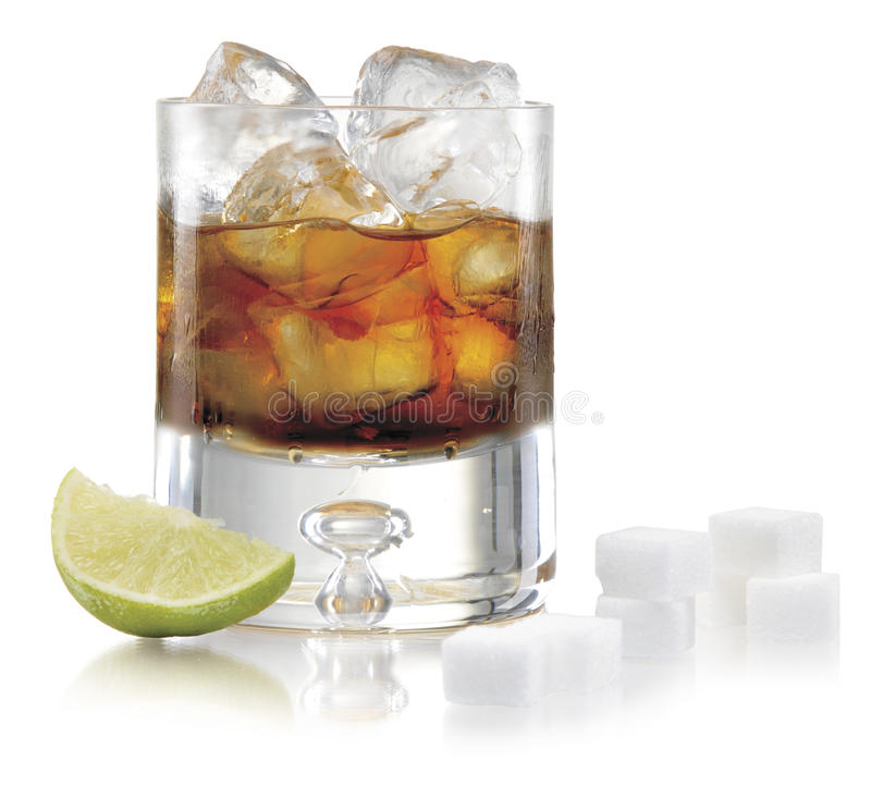 Glass of whiskey with ice stock photos