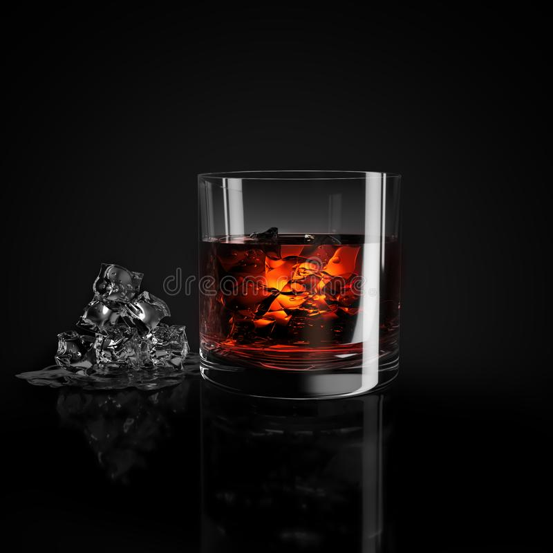 Glass of whiskey and ice stock image