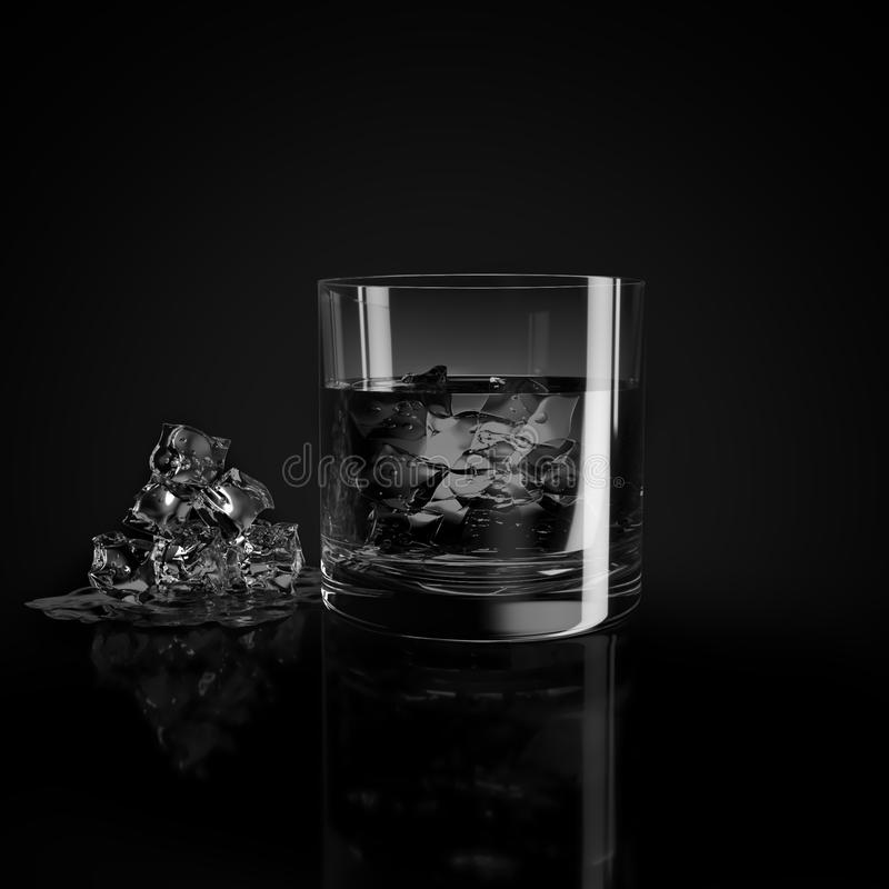 Glass of whiskey and ice royalty free stock images