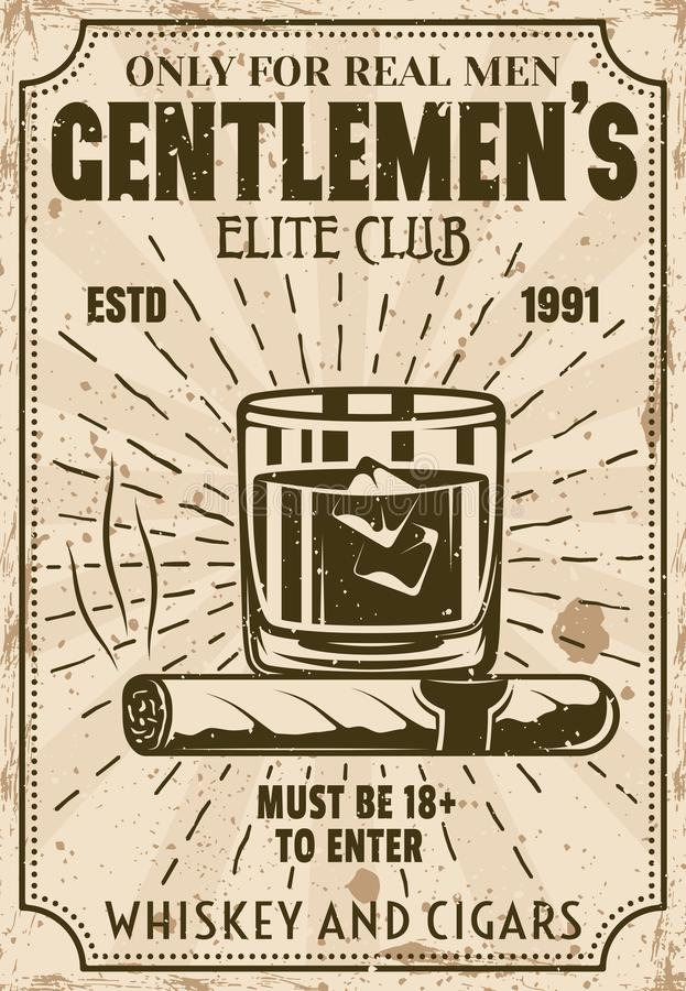 Glass of whiskey with ice cubes and cigar poster. Glass of whiskey with ice cubes and cigar vintage poster for advertising institution or event. Gentlemen elite royalty free illustration