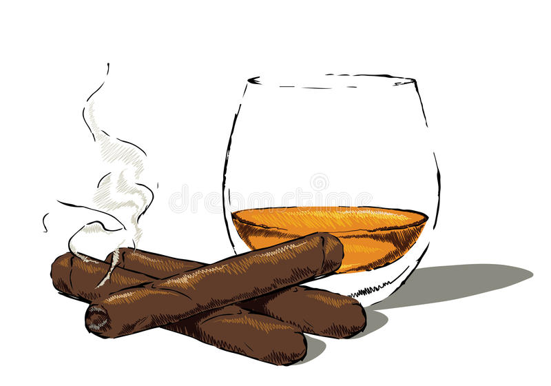 Whiskey glass with a cigar. Glass of whisky and a smoking cigar. Illustrator 8 compatible. TECHNICAL INFO: color space: CMYK layers: drink, cigars1,2 & 3, shadow stock illustration