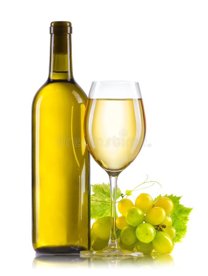 Glass of white wine with bottle and ripe grapes isolated royalty free stock photos