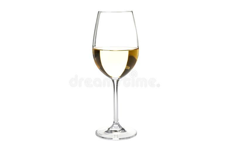 Glass with white wine isolated on white. Background royalty free stock image