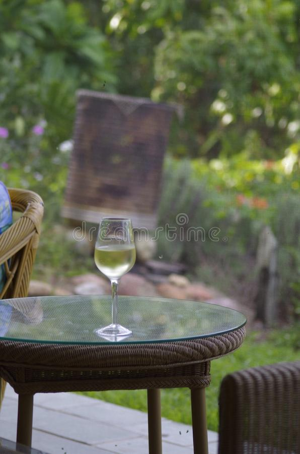 Glass white wine, on table royalty free stock photography