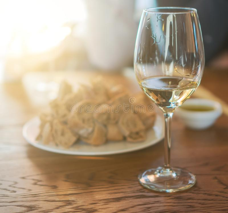 Wine degustation. Glass of white wine is on the table. Wine degustation stock images
