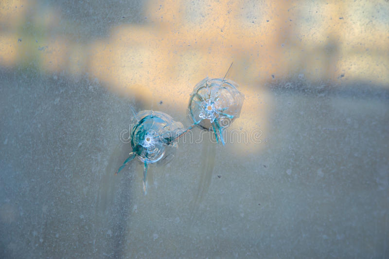 Download Glass Window Pierced By A Two Shot. Stock Photo - Image of insurance, aggression: 39513366