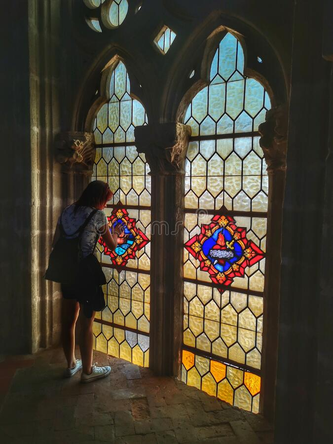 Glass Windows in church stock images
