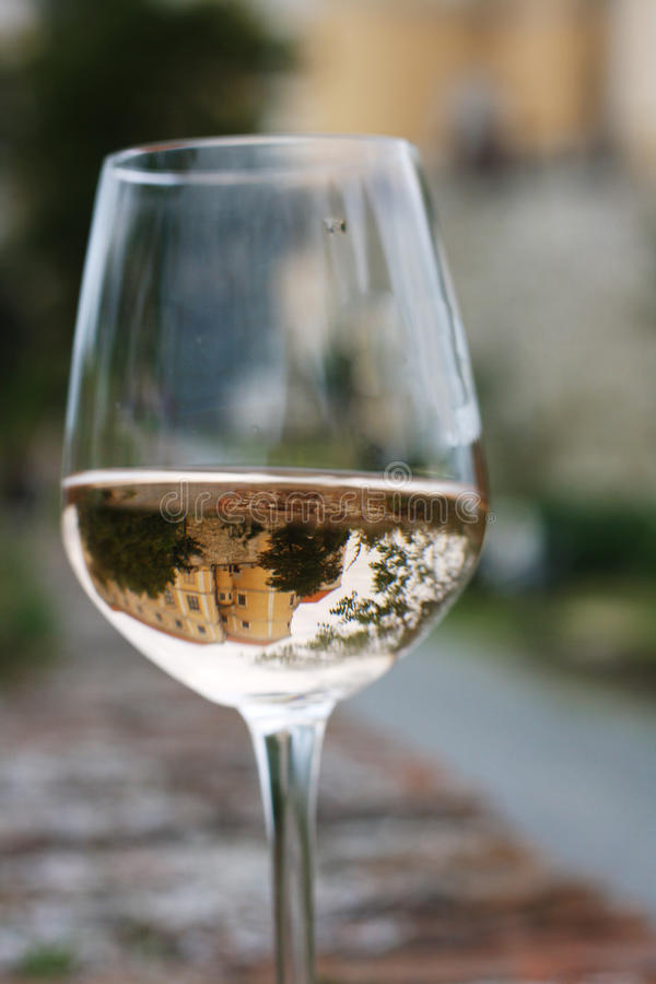 Glass of wine. On the wall royalty free stock images