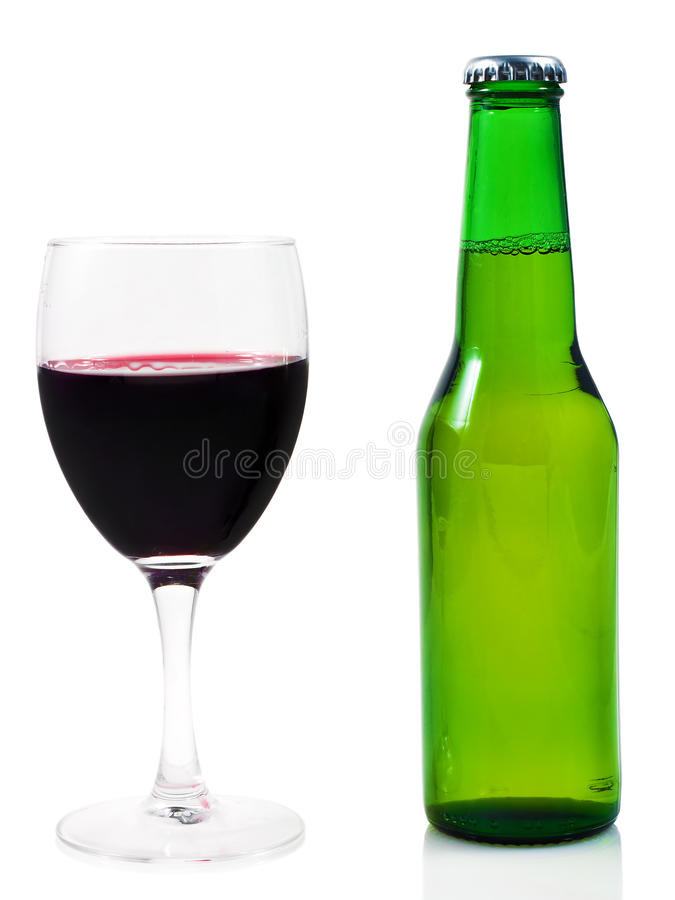 Glass of wine and beer royalty free stock images