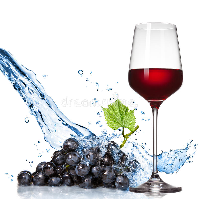 Glass of wine with blue grape and water splash royalty free stock image