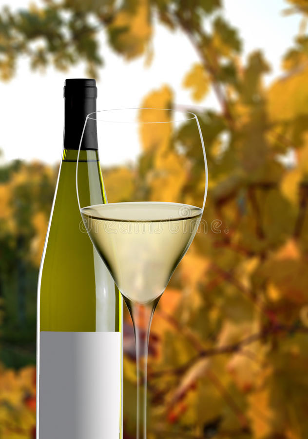 Glass of wine with bottle. Glass of wine on black background stock images