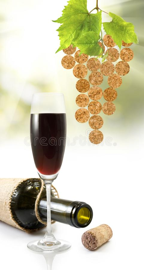 glass with wine and bottle of wine royalty free stock photos