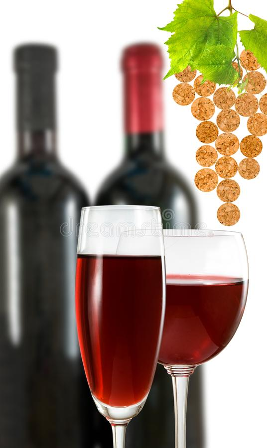 glass with wine and bottle of wine royalty free stock photo