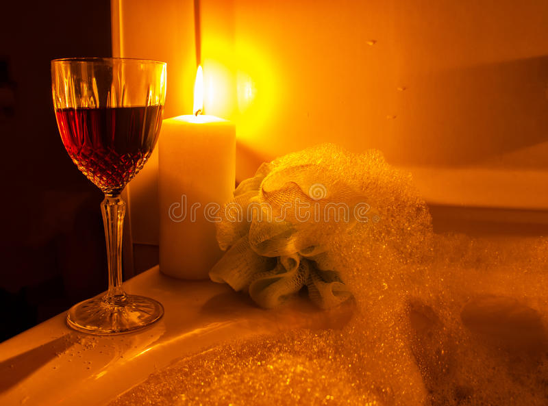 A Glass Of Wine And Bubble Bath Stock Images - Image: 35079464