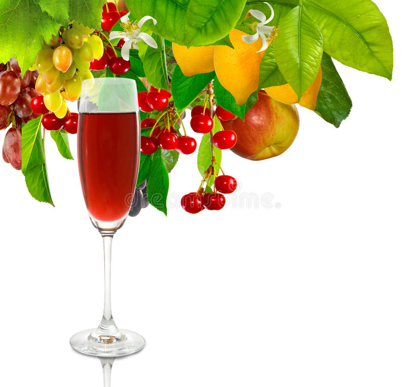 Glass of wine on fruit background royalty free stock photography