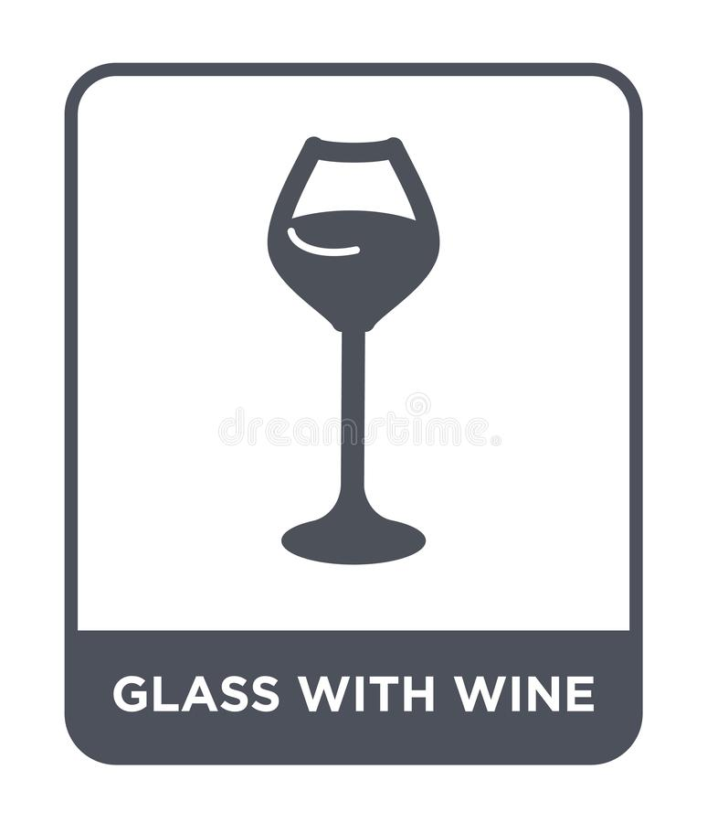 glass with wine icon in trendy design style. glass with wine icon isolated on white background. glass with wine vector icon simple stock illustration