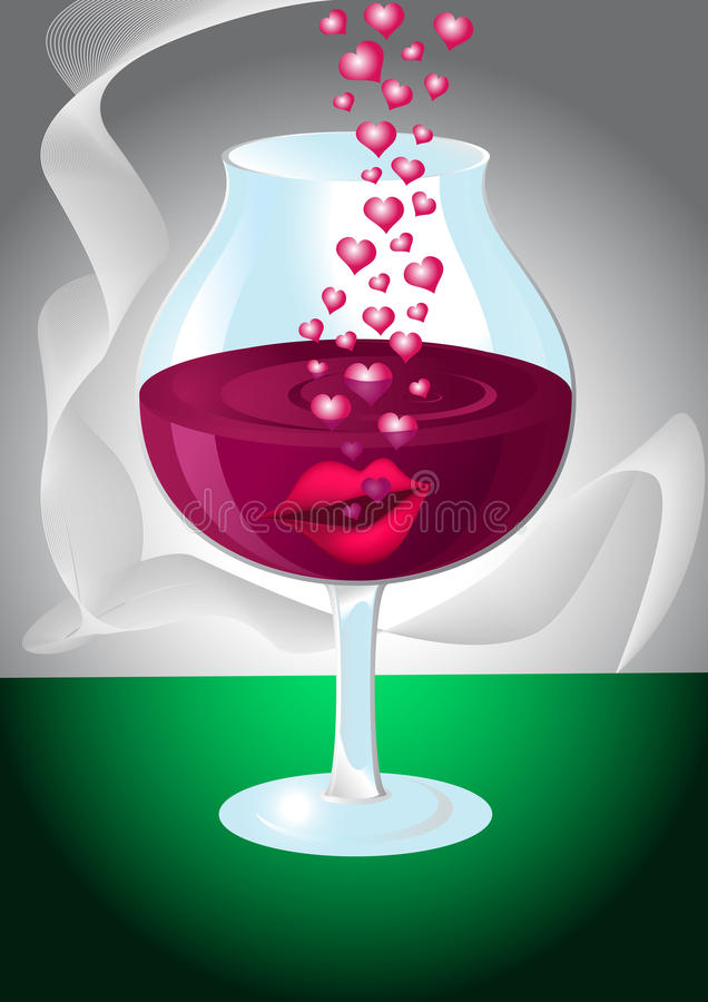 Download Glass Of Wine With Lips And Hearts Stock Vector - Illustration: 10101792
