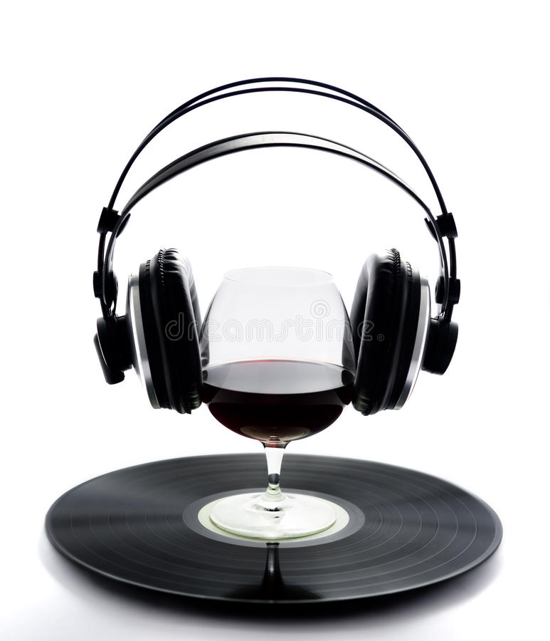 Glass wine vinyl. Music Vinyl & Wine drink glasses party glasses kiwii royalty free stock photo