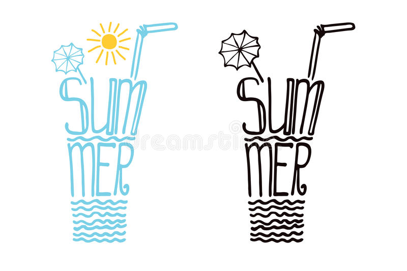 Glass from words summer.Typography Design set. Typography Design set.Silhouette of glass of drink from words .The message Summer.To use as icon, label, stiker vector illustration