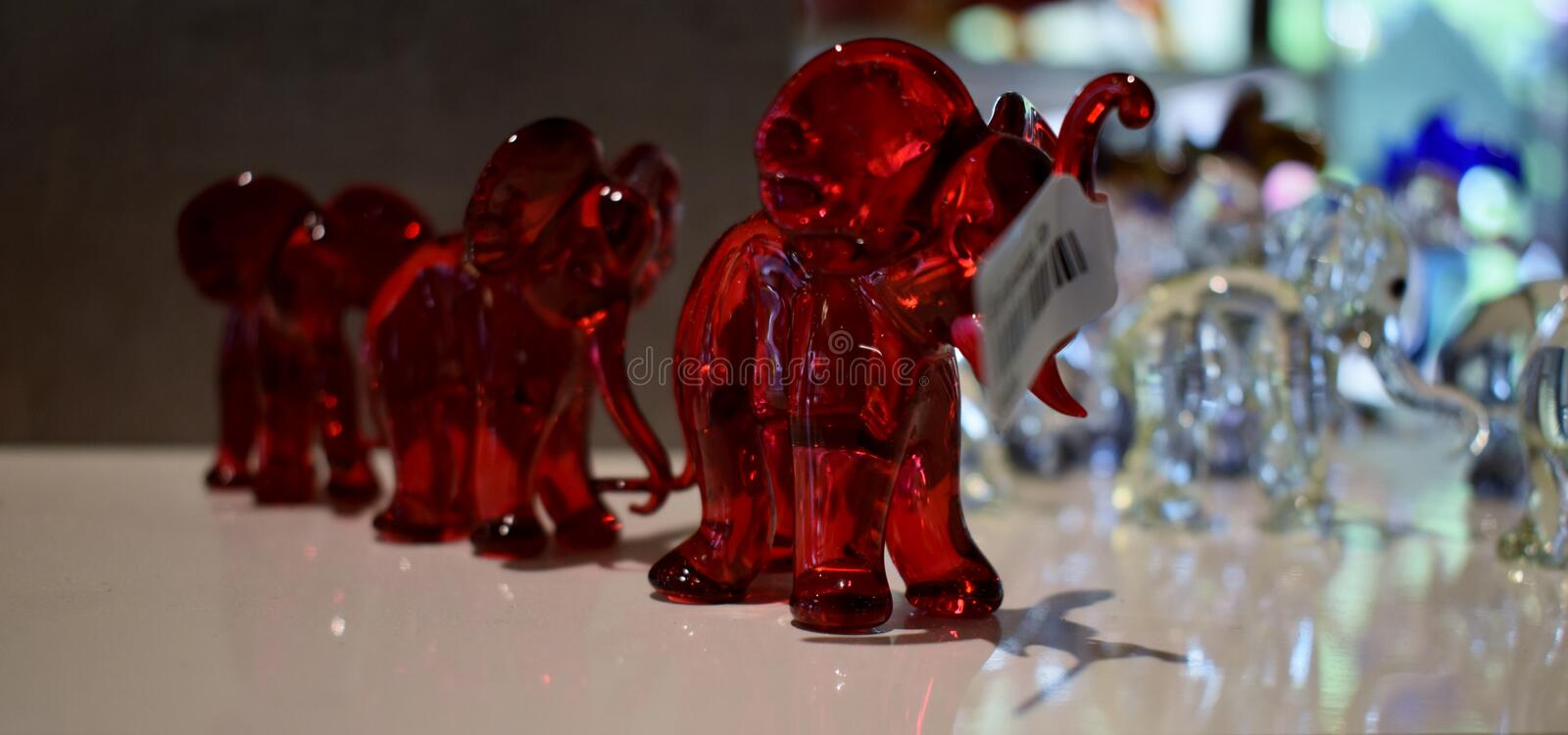 Glass work, elephants @Shop at Black Forest, Germany. Amazing , unbelievable glass work. Glass Elephants in a local shop at Black Forest @ Germany stock photography