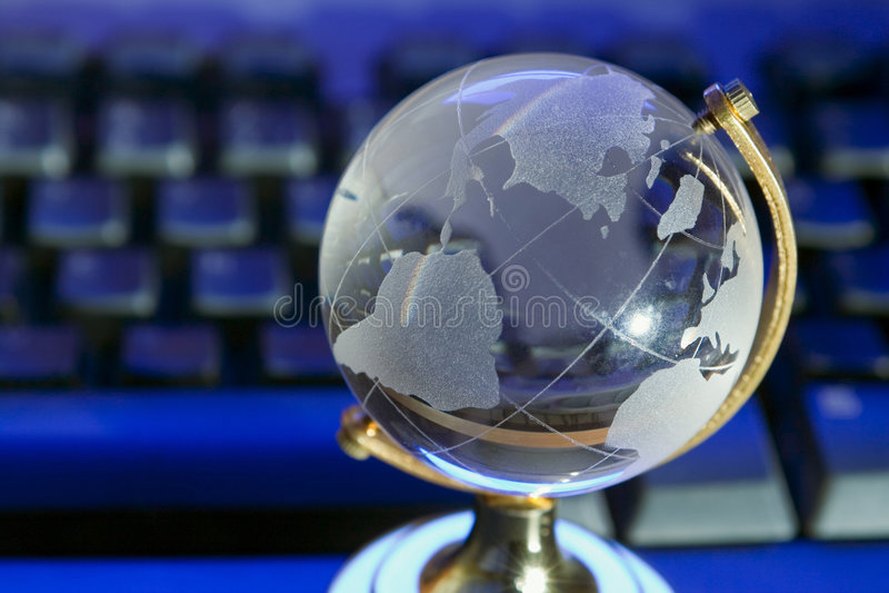 Glass world globe stock photo