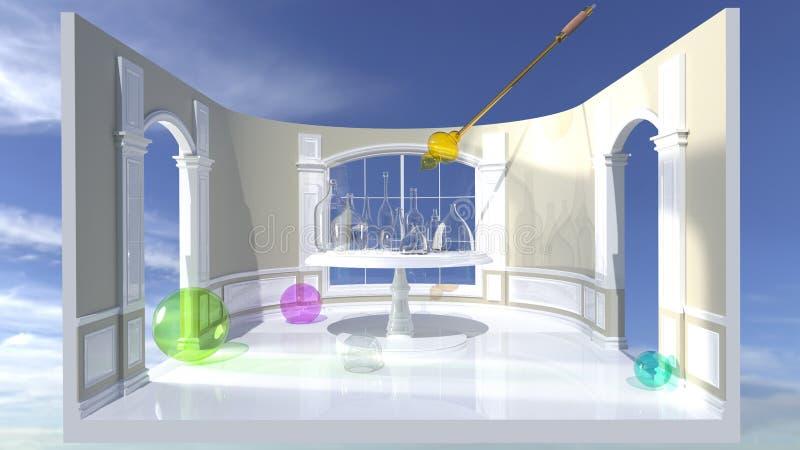 Glassblower tubka nad stołem z szklanymi naczyniami - 3D rendering fotografia royalty free