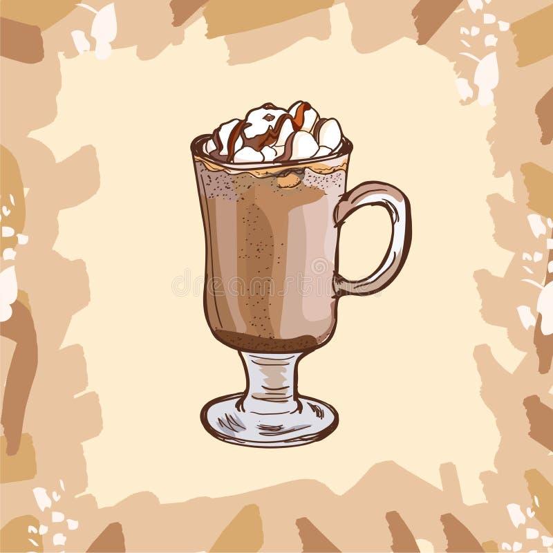 Glasschale heißer Kakao mit den Eibischen und Schokolade, die für Kinder übersteigen Bunte Vektorillustration in der Skizzenart H lizenzfreie abbildung