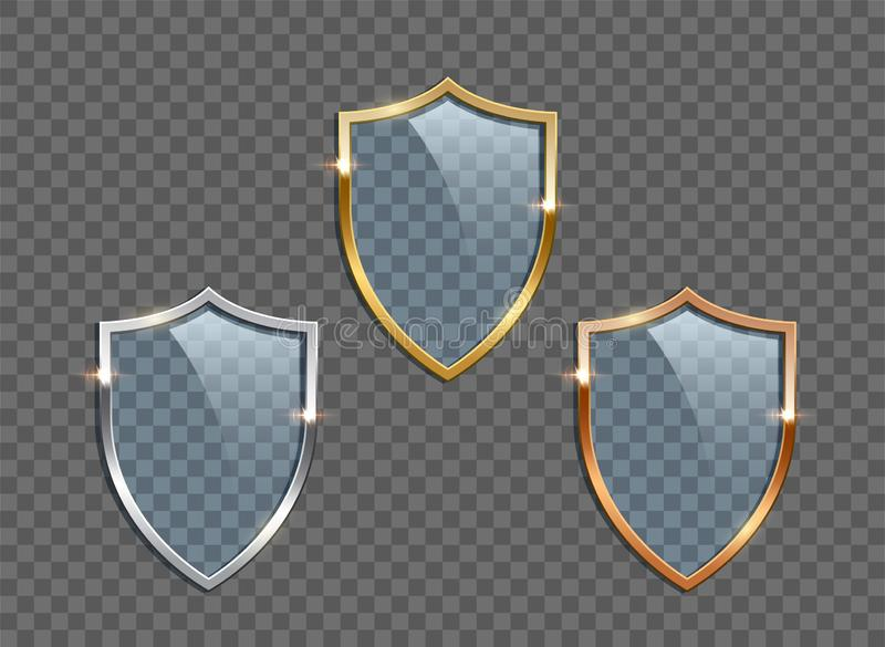 Glasschilden met gouden, zilveren die en bronskaders op transparante achtergrond worden geïsoleerd Vector ontwerpelementen stock illustratie