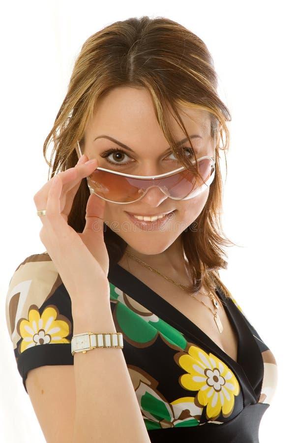 glasse星期日妇女年轻人 库存图片