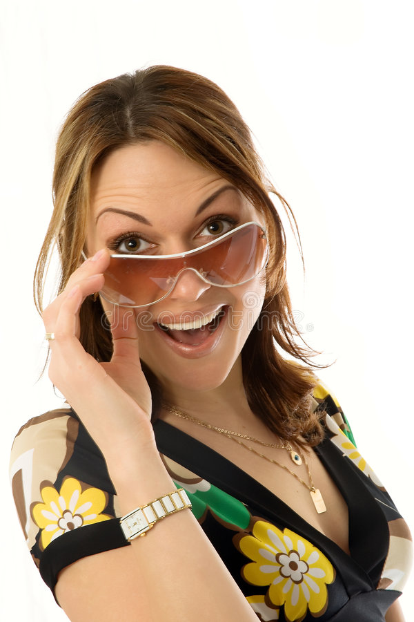 glasse星期日妇女年轻人 免版税库存照片
