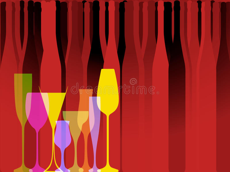 Glasse aan alcohol stock illustratie