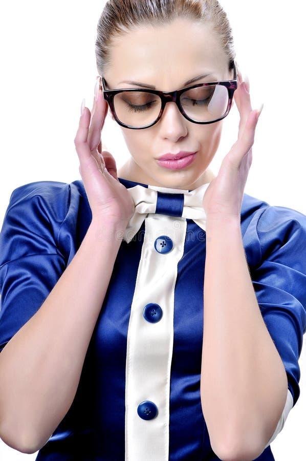Glasse s'usant fascinant de femme ou de professeur d'affaires image stock