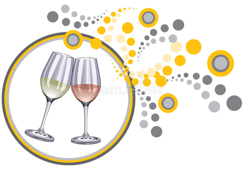 Glasses. And decorative background,wine royalty free illustration