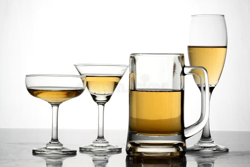 Glasses With Alcohol Stock Photography