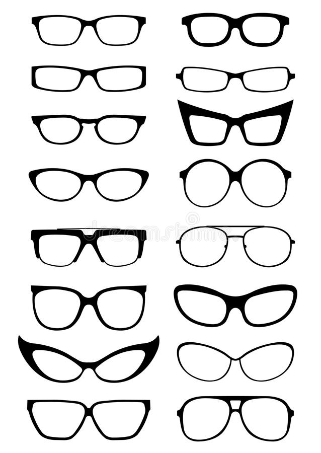 Free Glasses And Sunglasses Silhouettes Stock Image - 24915111