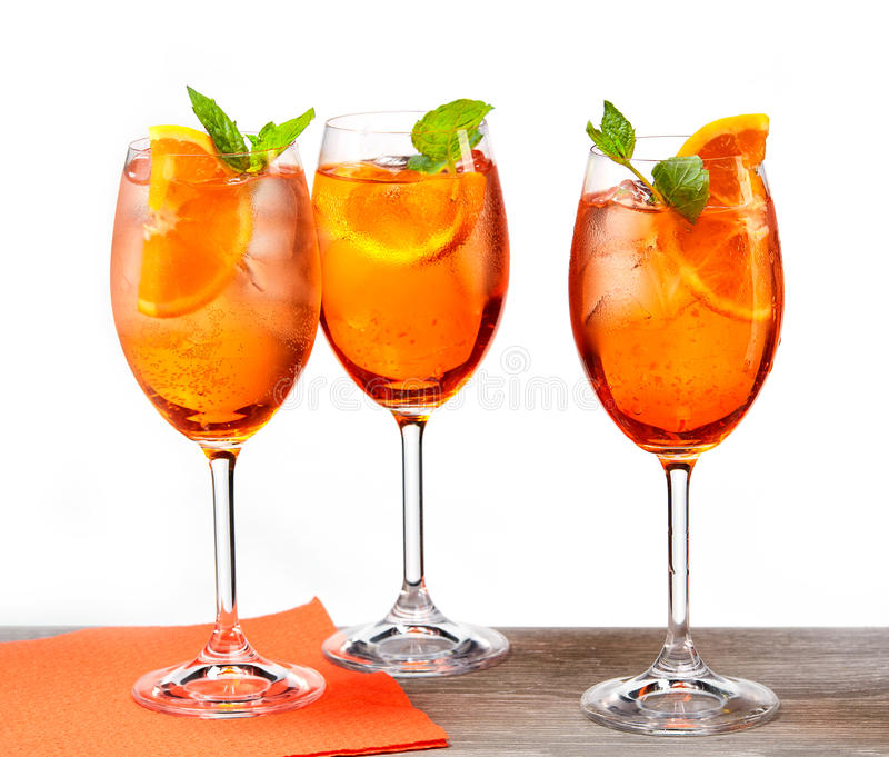 Glasses of aperol spritz cocktail. Classic Italian Aperol Spritz cocktail royalty free stock images