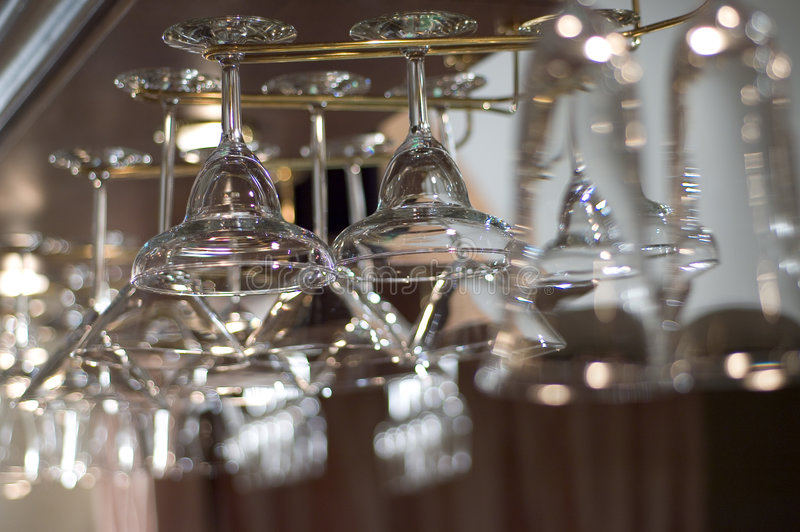 Glasses in a bar royalty free stock photos