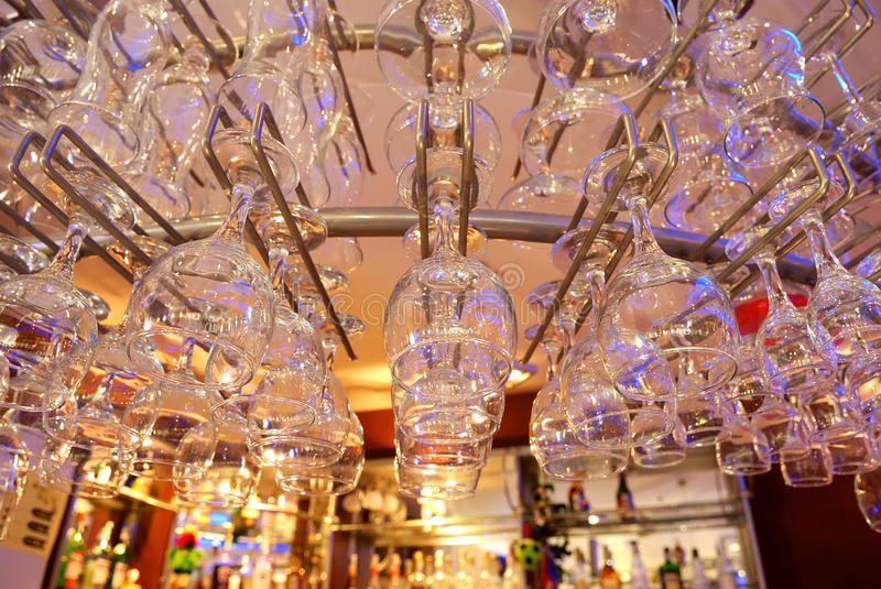 Glasses at Bar Counter royalty free stock photo