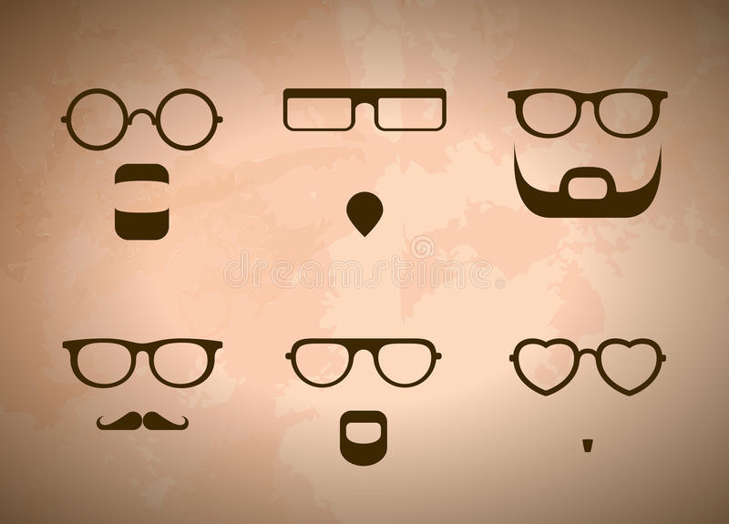 Glasses And Beards stock illustration