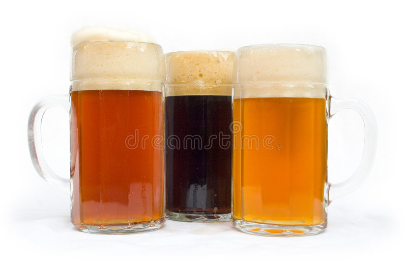 Glasses of Beer stock images
