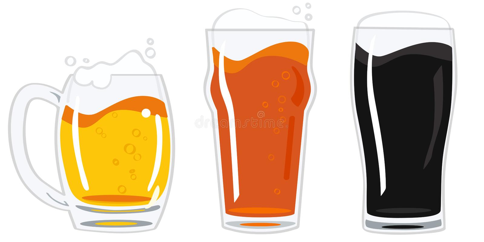 Glasses of beer vector. Illustration of three glasses with different kind of beer - light, red and dark isolated on white + vector esp file stock illustration